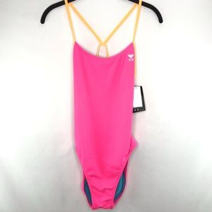 Tyr Pink Solid Cutoutfit One Piece Swimsuit 38